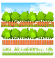 Green trees with grass and fence vector | Price: 3 Credits (USD $3)