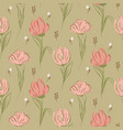 hand drawn big tulips on green seamless background vector image