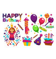 happy birthday greeting card or postcard gift vector image vector image