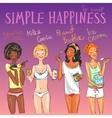 happy girls enjoying delicious snacks vector image vector image