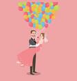 honeymoon wedding couple with baloon fly all vector image vector image