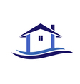 House and waves logo vector image vector image