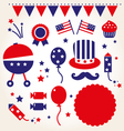Independence day retro icons vector | Price: 1 Credit (USD $1)