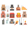indoors and outdoors fireplaces and bonfires with vector image vector image