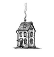 ink sketch of old stone house vector image