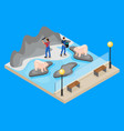 isometric workers in zoo concept vector image vector image