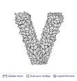 letter v symbol of white leaves vector image