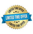 limited time offer 3d gold badge with blue ribbon vector image vector image