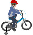 little boy riding bicycle color vector image vector image