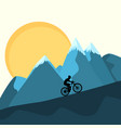 mtb female rider on mountains sunset background vector image
