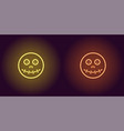 neon zombie head in yellow and orange color vector image vector image