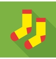 Pair of woolen socks icon flat style vector image