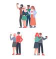 people taking selfie with smartphone set friends vector image vector image