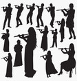 playing flute silhouettes vector image vector image