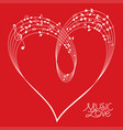 red musical heart shape vector image