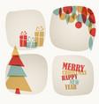 Retro christmas card with christmas tree gifts