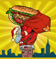 santa claus with a hot dog climbs the chimney vector image vector image