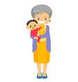senior caucasian grandmother holding grandson vector image