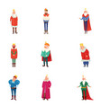set different royal kings in colorful clothes vector image vector image