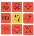 set of 9 business management icons includes human vector image vector image