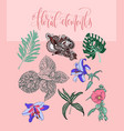 set of flowers and leaves in a realistic and vector image vector image