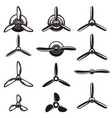 set of the airplane propellers design elements vector image