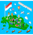 singapore map touristic symbols isometric poster vector image vector image