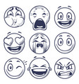 sketch smiley smile expression icons emoticons vector image vector image