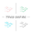 speed arrows hand drawn icons set vector image