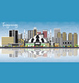 tangerang indonesia city skyline with gray vector image vector image