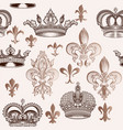 vintage pattern with crowns and fleur de lis vector image vector image