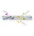 Watercolor cartoon colorful inscription bright