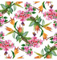 watercolor seamless pattern with colorful flowers vector image vector image