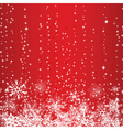 winter red background with snowflakes vector image vector image
