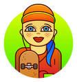 woman skateboarder vector image
