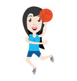 women playing basketball cartoon vector image vector image