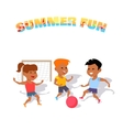 Children Play with a Ball Summer Fun vector image