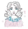 portrait of a genteel girl woman cute face vector image