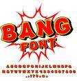 Bang font Comic alphabet Bright cartoon ABC Red vector image