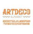 artdeco alphabet with numbers and currency signs vector image vector image