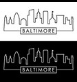 baltimore skyline linear style editable file vector image vector image