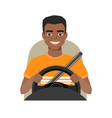 black african american man driving a car man vector image