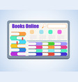 bookshelves with books on computer screen vector image vector image