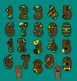 brown numbers with bright decor vector image vector image