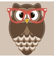 Brown owl with glasses vector image vector image