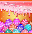 card with easter eggs and icing sugar vector image vector image