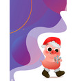 cartoon cute piggy in santa hat greeting card vector image