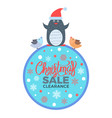 christmas sale clearance poster with penguin birds vector image vector image