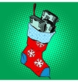 Christmas sock with money vector image vector image
