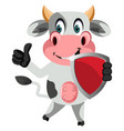 cow with shield on white background vector image vector image